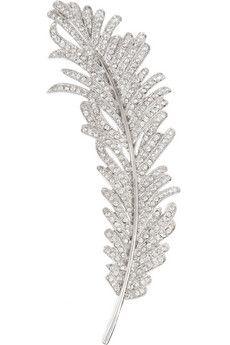 Kenneth Jay Lane Rhodium-plated cubic zirconia feather brooch