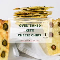 Quick and easy way to make those Oven baked Keto Cheese Chips from cheese slices and some additional condiments. Use your own imagination to make them every day different Keto Cheese Chips, Cheese Snacks, Keto Snacks, Keto Desserts, Low Carb Keto, Low Carb Recipes, Healthy Recipes, Cheese Logo, Low Carb Crackers