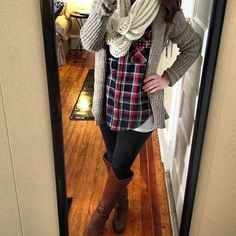 scarf plaid shirt | plaid shirt, scarf and riding boots.
