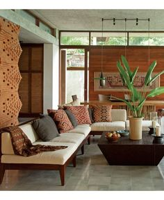 Living Rooms, Balinese Interior Design, Bali Style, Brick Wall, Google Search, Indonesian Textiles, Ethnic Living Room, Modern Balinese Interior