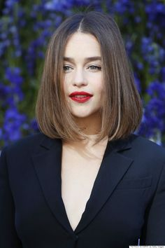 """Emilia Clarke - The """"Contouring Cut"""" Coined by ELLE magazine, the """"Contouring Cut"""" is a centre-parted angled cut that """"ditches the layers"""" and shapes the cheekbones with its flattering frame."""