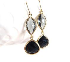 Onyx Black Earrings Grey Crystal Earrings Gold Earrings Grey Bridesmaid Earrings Gray Grey Wedding Jewelry by LoveShineBridal, $32.00