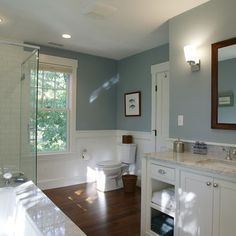 1950 Cape Cod Bathroom Remodels Home Design Ideas, Pictures, Remodel and Decor Cape Cod Bathroom, White Bathroom, Small Bathroom, Master Bathroom, Blue Bathrooms, Bathroom Wall, Modern Bathroom, Glass Bathroom, Wood Floor Bathroom