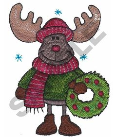 MOOSE WITH WREATH Machine Embroidery Design | Great Notions