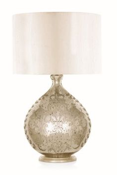 Large Etched Mercury Glass Table Lamp from Next