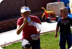 Kid-fun! Snake bubbles.Easy=water bottle;scissors;sock;bowl w/ soap at:  somewhatsimple.com/bubble-snakes/