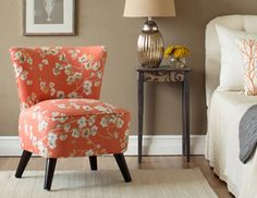 Layla Accent Chair in Sakura Kumquat