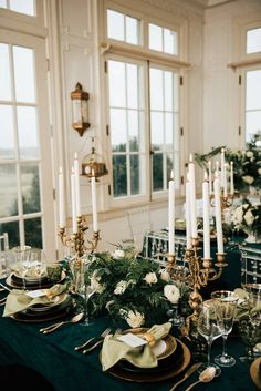 Bold Emerald Inspired Styled Shoot Elegant emerald green and gold wedding reception Gold Wedding Theme, Wedding Themes, Wedding Ideas, Diy Wedding, Wedding Flowers, Dream Wedding, Green Wedding Decorations, Gold Wedding Centerpieces, Quinceanera Centerpieces