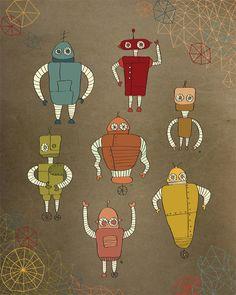 "Boys print art, Robots poster ""Little Robots"" 8 x 10 Sci Fi Robots Bedroom Decor. $19.00, via Etsy."