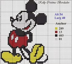 "Delicate Corner: Charts Cross Stitch ""Mickey and Minnie"" Disney Cross Stitch Patterns, Cross Stitch For Kids, Cross Stitch Baby, Cross Stitch Charts, Cross Stitch Designs, Beaded Cross Stitch, Crochet Cross, Crochet Chart, Cross Stitch Embroidery"