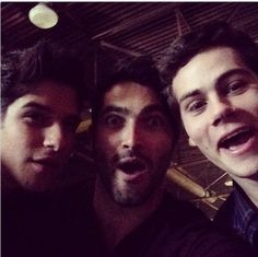 Tyler Posey, Tyler Hoechlin and Dylan O'Brien as Scott McCall, Derek Hale & Stiles Stilinski on the set of Teen Wolf.
