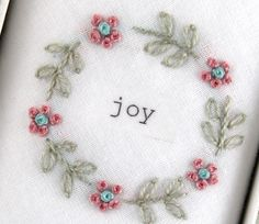 'Joy' Hand Embroidered Hankie by Tamielle, the perfect gift for Explore more unique gifts in our curated marketplace. Hand Embroidery Designs, Embroidery Stitches, Embroidery Patterns, Unique Gifts, Handmade Gifts, People In Need, Something Beautiful, Embroidered Flowers, Christmas Presents