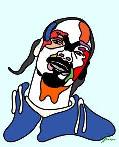 Magnus Voll Mathiassen - Rap Face  Tiphaine-illustration #illustration #drawing #graphicdesgin #visualart #portrait #snoopdog