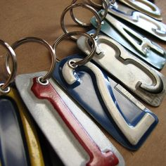 This listing is for one License tag key chain. The edges of the metal have been filed fora smooth edge. The keyring is nice 1 The number is approx. 2 long and wide. License Plate Crafts, Old License Plates, License Plate Art, License Plate Ideas, Licence Plates, Metal Projects, Metal Crafts, Diy Projects To Try, Crafts To Make