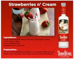 strawberries & Cream Vodka drink