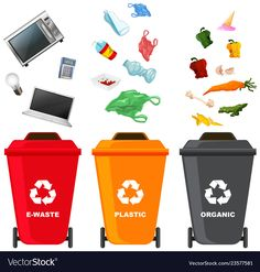 Set of different trash bin illustration , Class Projects, School Projects, Lkg Worksheets, Doddle Art, Environment Painting, Girl Scout Badges, Save Our Earth, School Frame, Trash Bins
