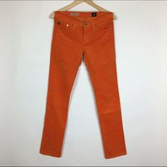 """AG """"The Stevie"""" slim straight orange cords AG """"The Stevie"""" slim straight orange cords. Great condition. Awesome color. Worn 2 or 3 times. AG Adriano Goldschmied Pants"""