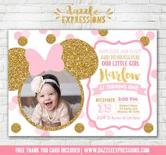 Printable Pink and Gold Glitter Minnie Mouse Inspired Birthday Invitation | Polka Dot Confetti | Girls 1st Birthday Party | Mickey Mouse | DIY | First Birthday | Baby Shower | Digital File | Girls Birthday Party Idea | Rollerskating | Skate | FREE thank you card | Party Package Available | Banner | Cupcake Toppers | Favor Tag | Food and Drink Labels | Signs | Candy Bar Wrapper | www.dazzleexpressions.com