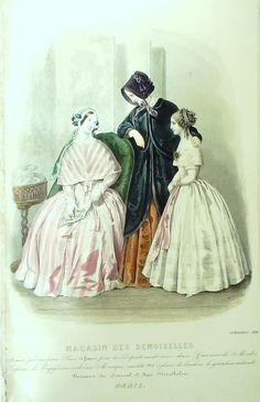 GRAVURE de MODE AUTHENTIQUE-F199-MAGASIN DEMOISELLES-ROBES DE VILLE-1849