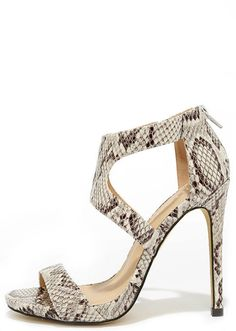 014a88c9082 The Twirl-Wind Beige Python Dress Sandals are storming the dance floor!  Python printed vegan leather composes these lovely peep-toe sandals