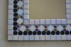 Handmade Mosaic  Mirror 12 Square Ivory Bronze Black by gcbmosaics