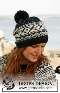 """Knitted DROPS hat with Norwegian pattern and large pompom in """"Karisma"""". ~ DROPS Design Knitted DROPS hat with Norwegian pattern and large pompom in """"Karisma"""". Fair Isle Knitting, Lace Knitting, Knit Crochet, Crochet Hats, Drops Design, Motif Fair Isle, Fair Isle Pattern, Easy Knitting Patterns, Knitting Projects"""