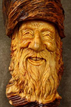 Wood Carving Wood Spirit Ooak Birthday Gift by TreeWizWoodCarvings, $140.00