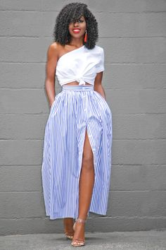 Style Pantry | One Shoulder Cotton Top + Striped Button Down Skirt