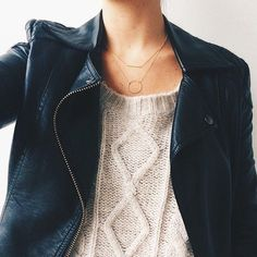 leather jacket + cable knit #dogeared