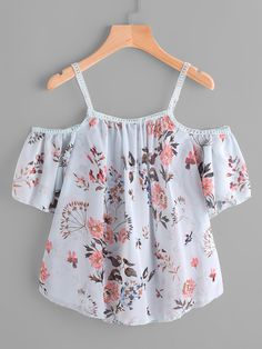 SheIn offers Cold Shoulder Floral Print Lace Trim Top & more to fit your fashionable needs. Cute Comfy Outfits, Cute Girl Outfits, Cute Summer Outfits, Pretty Outfits, Cool Outfits, Girls Fashion Clothes, Teen Fashion Outfits, Mode Pastel, Belly Shirts