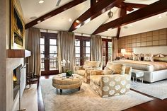 I love rooms that are open like this!!! The ceiling rocks!