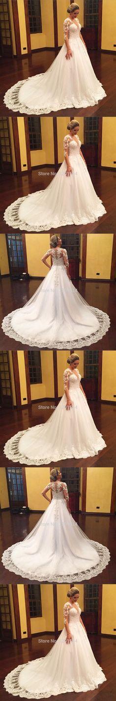 Vintage Plus Size Wedding Dresses 2016 V Neck Ivory Appliques Tulle Long Sleeve…