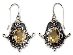 Citrine dangle earrings, 'Spellbound' - Citrine Earrings in Sterling Silver Jewelry from India NOVICA http://www.amazon.com/dp/B001QIVD7E/ref=cm_sw_r_pi_dp_lqXDub08KWDRT