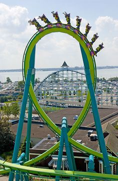 Cedar Point, the Raptor main loop, and the Blue Streak in the background...I ran both roller coasters