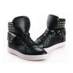 $24.65 Trendy Men's High Top Shoes With Pure Color Lace-Up and Rivets Design