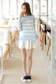 I am in love with this color  #KOODING.com #skyblue #sweater #stripe
