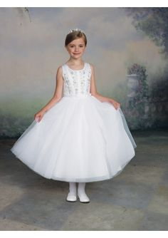 Wedding dress online shop - Satin and Tulle Jewel Neckline Beaded Applique Bodice Bow Accents Trim Waist A-Line Style with Tea-Length Skirt Flower Girl Dress FL-0334