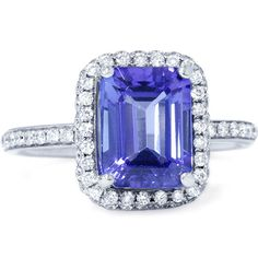 2.77CT VVS Emerald Tanzanite Diamond Ring 18K White by Pompeii3, $2999.99