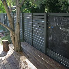 Clever horizontal fence with built-in chalk board panel for children to write on.