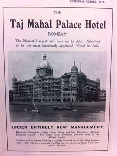 Ad of Taj Mahal Palace Hotel,Bombay. Electricity throughout,entirely Europ… Ad of Taj Mahal Palace Hotel,Bombay. Electricity throughout,entirely European cuisine & Royal Italian Orchestra Vintage Advertising Posters, Old Advertisements, Vintage Travel Posters, Vintage India, Vintage Ads, Vintage Photos, Hotel Ads, Mumbai City, Bollywood Posters