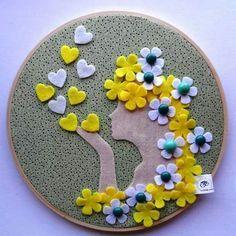 felt hoop art flowers - Google Search