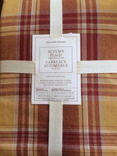 "NEW WILLIAMS SONOMA Autumn Plaid Tablecloth 70x108"" 100% Cotton Rust Gold NWT…"