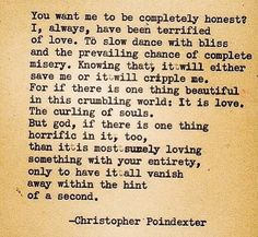 For if there is one thing beautiful in this crumbling world: it is love.