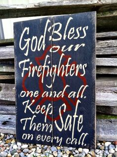 God Bless Fireman Sign Firemen Sign by CharmingWillows on Etsy, $40.00