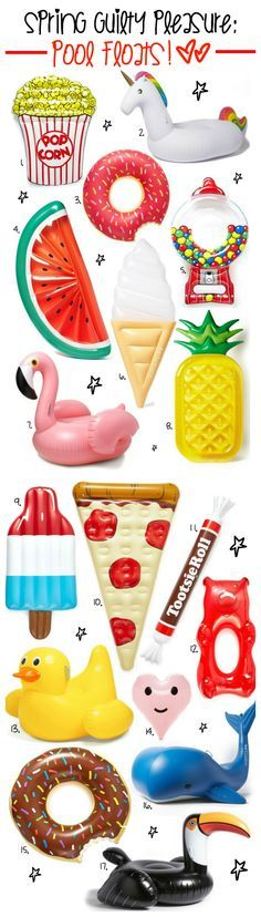 All the pool floats you could ever dream of... pineapples, pizza slices, unicorns, flamingos, donuts, gum ball machines, ice cream cones, the list goes on! I need them all!