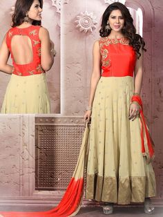 Pleasing cream color georgette anarkali having scattered buttis all over and zari work. Item Code: SLKE7005 http://www.bharatplaza.com/new-arrivals/salwar-kameez.html