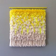 Woven wall hanging / Furry Melting Lemon Ice Cream // Handwoven Tapestry Weaving Fiber Art Textile Art Woven Home Decor Jujujust Yellow Tapestry, Colorful Tapestry, Weaving Art, Tapestry Weaving, Hand Weaving, Electric Field, Wool Thread, Textiles, Woven Wall Hanging