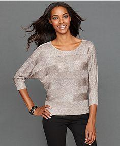 INC International Concepts Dolman-Sleeve Tonal-Stripe-Knit Sweater - Sweaters - Women - Macy's