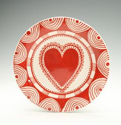 Bohemian Heart Plate Hand Painted Red and White Salad Plate Dinnerware