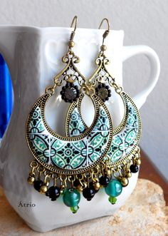 Portugal Antique Azulejo Tile Replica Chandelier Earrings by Atrio
